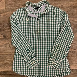 BANANA REPUBLIC men's green plaid dress shirt